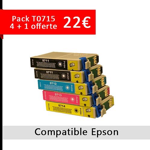 Cartouches pack T0715 4 + 1 gratuite