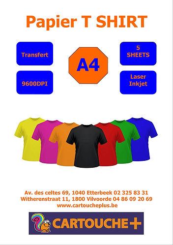 Papier Transfert T-Shirt A4 - 5 Feuilles
