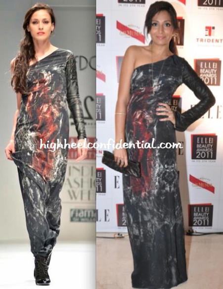 Monica Dogra wears 'Dead End' gown for Elle Beauty Awards