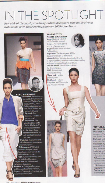 Vogue Sportlight - Most Promising Indian Designer