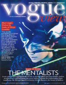 Vogue India features designer duo 3D appliques felt dress and acrylic head gear