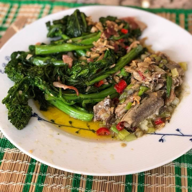 June 18 FF meal (bacon rapini and sardines)
