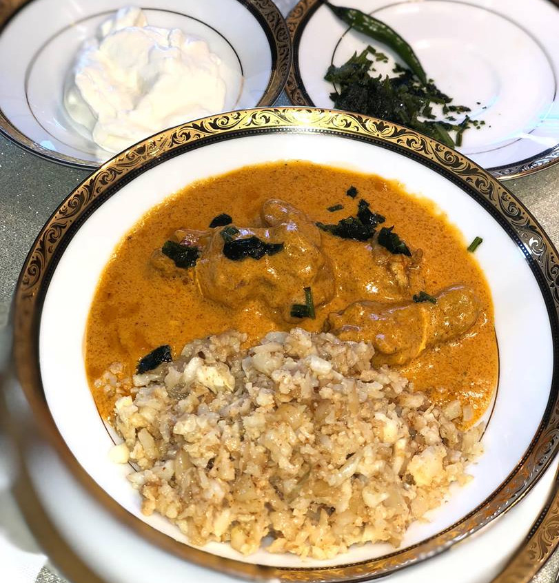 june 14 5 Butter chicken with Turmeric Cauli Rice (Dairy)