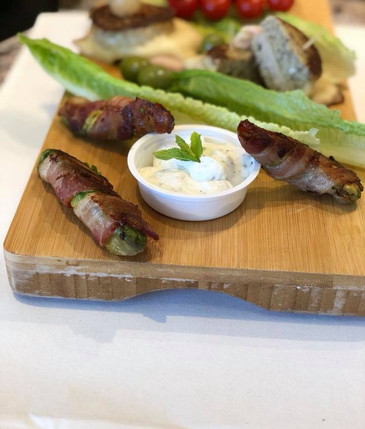 """june_14_pm_Bacon-wrapped_avocado_fried_with_""""magic_dip""""_(sour_cream_and_spices)"""