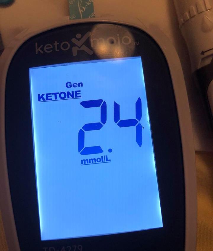 June 14 Blood ketones 2 hour after meal (dairy)