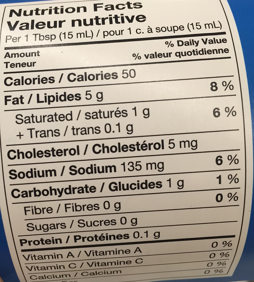 Nutritional Info mayo type dressing