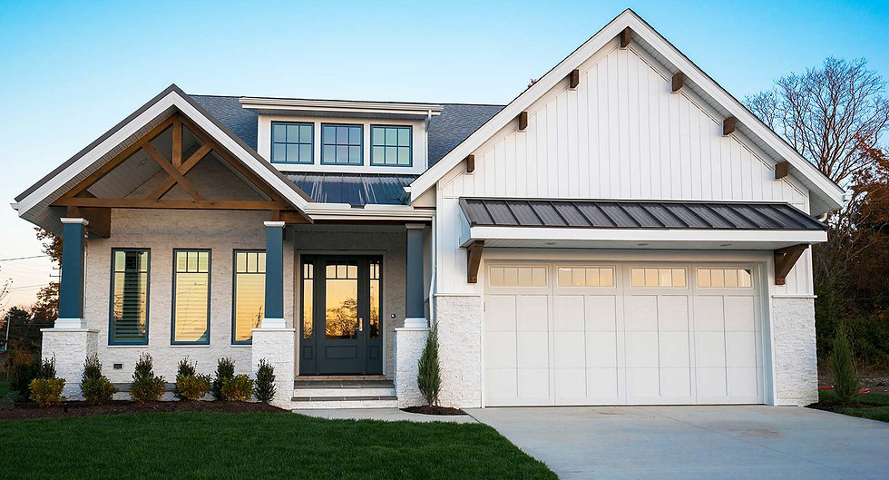 Craftsman style home with with front entry garage and porch will pillars.