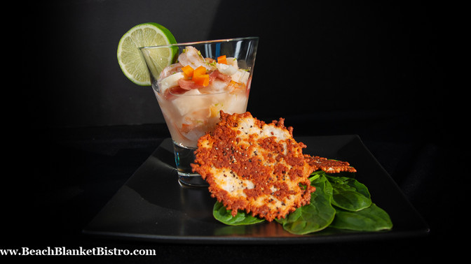 Shrimp Ceviche with Cheese Crisps