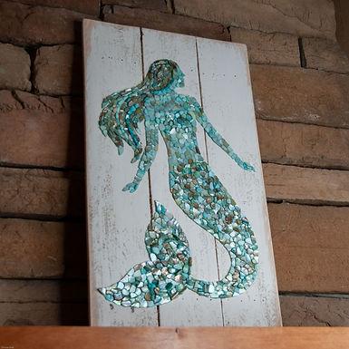 Shell Mosaic Mermaid Wall Hanging