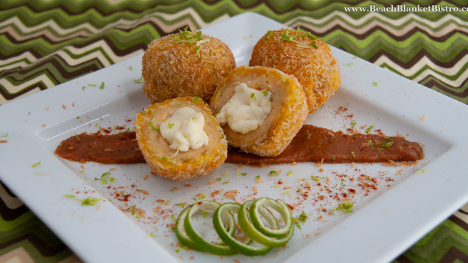 Plantain Croquettes with Lime Pepper Cashew Butter
