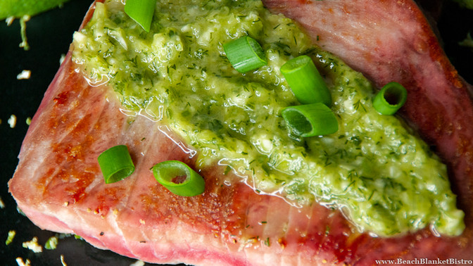 Seared Tuna with Dill-Green Onion Sauce