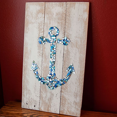 Blue Shell Mosaic Anchor Wall Hanging (Plank Board)