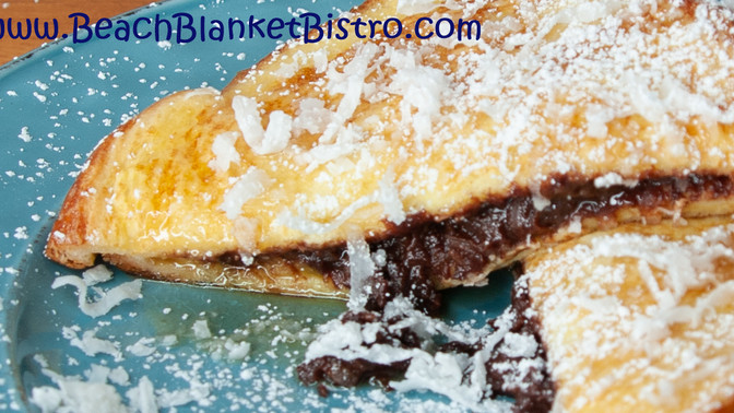 The Choco-Nut Stuffed French Toast with Spiced Rum Maple Syrup