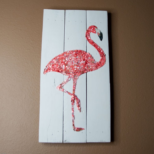 Shell Mosaic Flamingo Wall Hanging