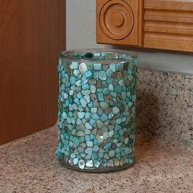 Shell Mosaic Candle Holder (Sea Foam Tones)