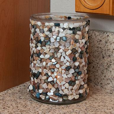 Shell Mosaic Candle Holder (Beach Pebble Tones)