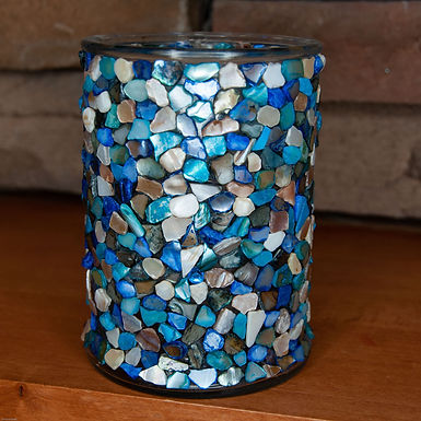 Shell Mosaic Candle Holder (Blue Tones)