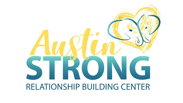 Austin STRONG: Relationship Building Center Logo. Two Elephants in a heart