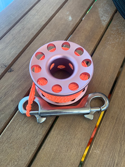 Scuba Diving 30m Aluminium Finger Spool Reel Pink with Double Sn