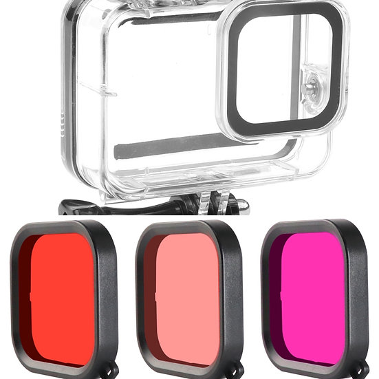 GoPro Hero 8 Diving Case Lens Filter Red Purple Pink Underwater Housing