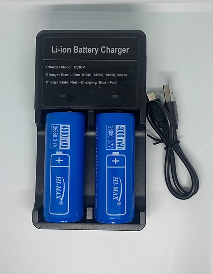 Hi-Max Battery 26650 with Portable USB Charger