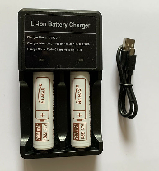 Hi-Max Battery 18650 with Portable USB Charger