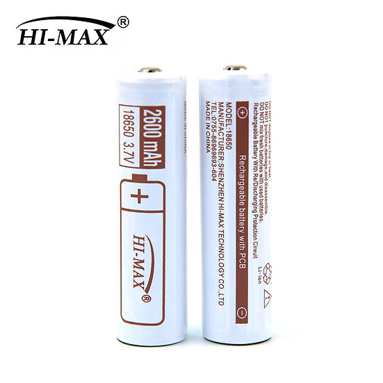 18650 2600mAh 3.7v PCM/PCB Genuine Hi-Max Rechargeable Battery