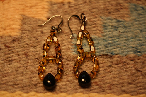 Tortoise Glass and Jet Stone Earrings