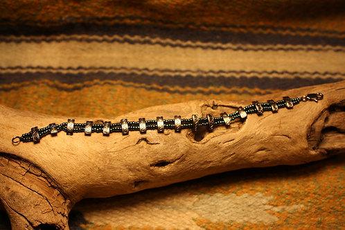 Pewter & Green Iris Beaded Bracelet