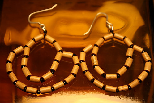 Wood and Glass Beaded Earrings