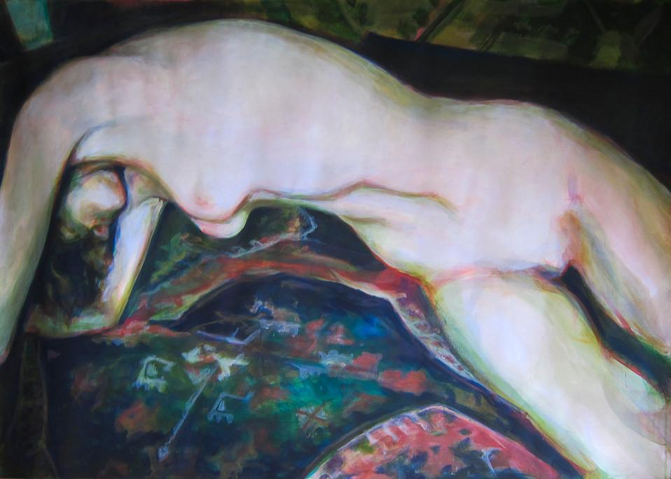 Nude figure on a carpet