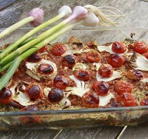 טריו חצילים קישואים ועגבניות