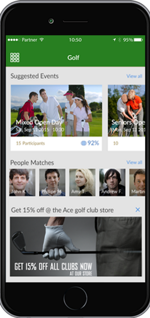 Discover golf events, people and groups