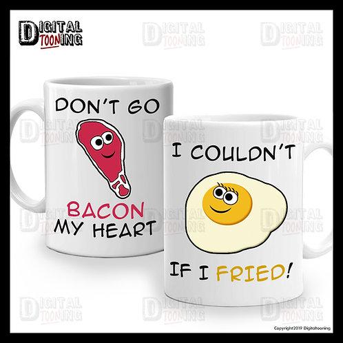 2 x Mug Set - Breakfast Set Bacon & Eggs