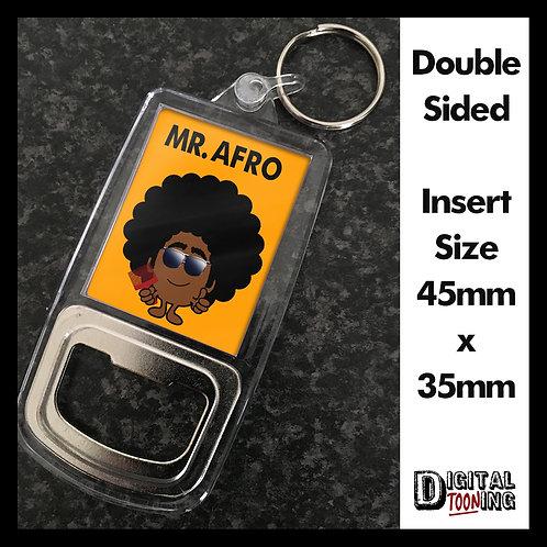 Mr Afro Keyring + Bottle Opener