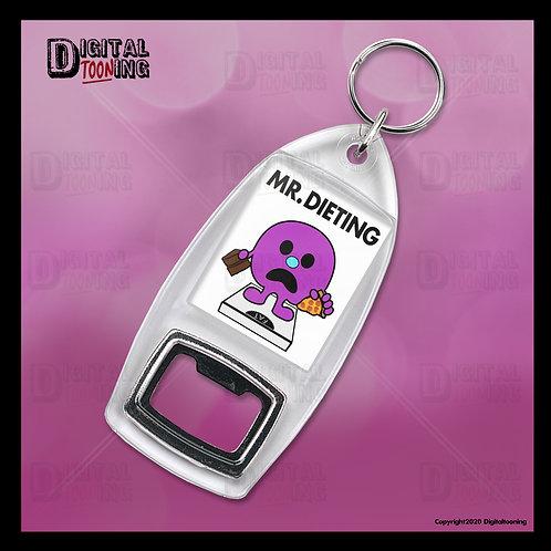 Mr Dieting Keyring + Bottle Opener