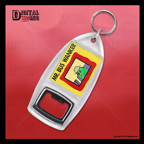 Mr Bus Wanker Keyring + Bottle Opener