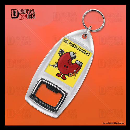 Mr Pussy Magnet Keyring + Bottle Opener