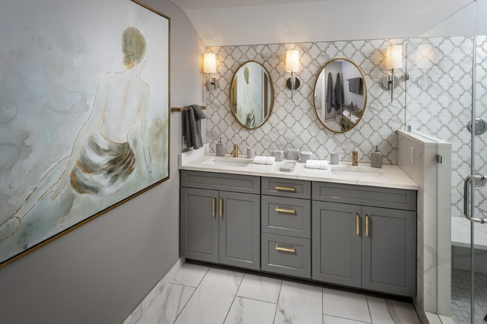 Wynnewood, PA: Transitional Grey Bathroom