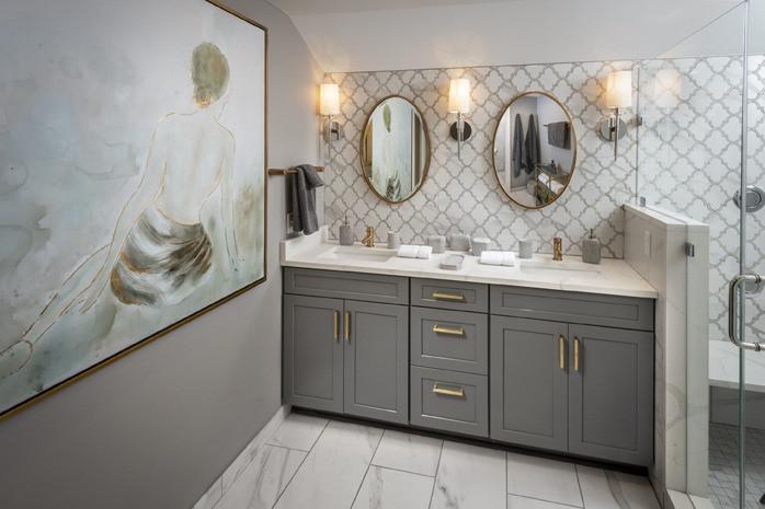 Wynnewood, PA: Transitional Grey Bathroom
