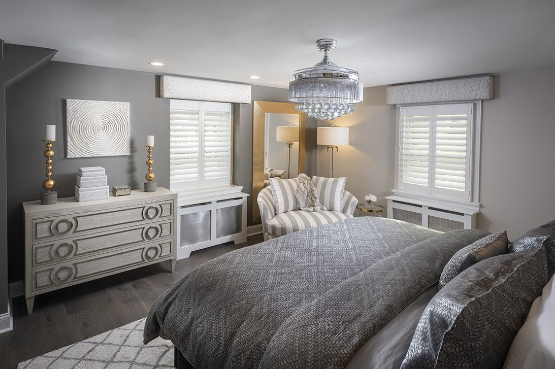 Wynnewood, PA: Tranistional Grey Bedroom