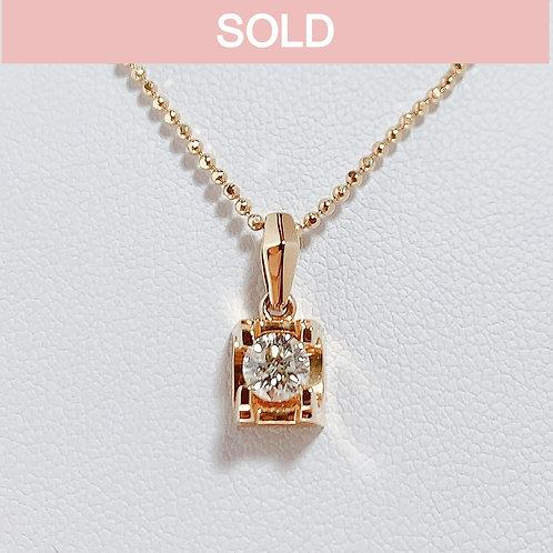 18金PG 1粒ダイヤモンド(0.34カラット) ペンダント