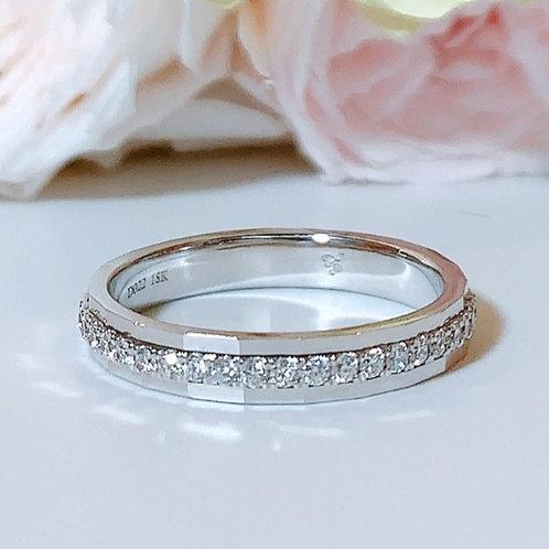 18金WG ハーフエタニティリング ミラー ダイヤモンド