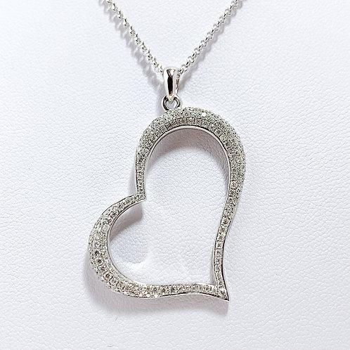 18金WG アングルハート ダイヤモンド ペンダント ラージ