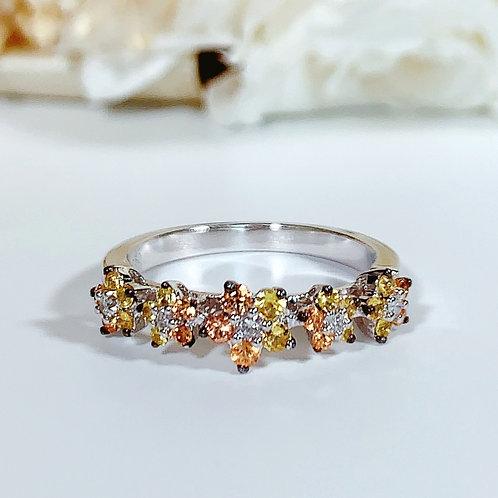 18金WG マルチフラワーリング イエローサファイヤ&ダイヤモンド