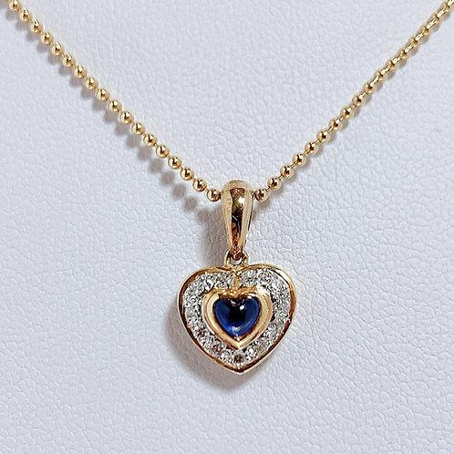 18金WG&YG アンティーク調 ハートペンダント サファイヤ&ダイヤモンド