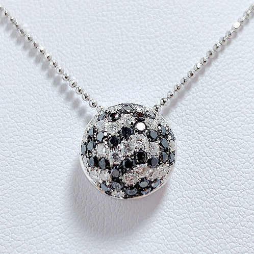 18金WG ドームペンダント ブラック&ホワイト ダイヤモンド