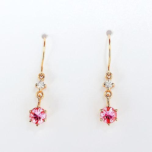 【プチ】18金PG ピンクサファイヤ&ダイヤモンド ピアス