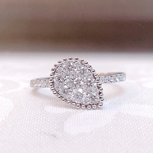 18金WG ドロップモチーフ リング ダイヤモンド