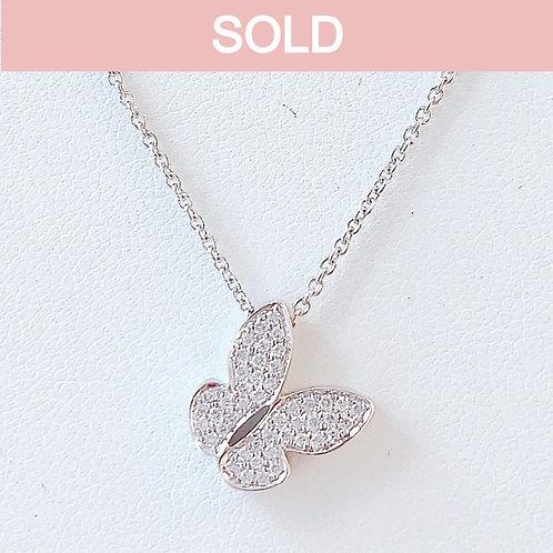 18金WG リトルパピヨン ダイヤモンド ネックレス
